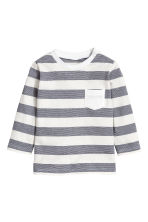 Long-sleeved T-shirt - Dark grey/Striped -  | H&M 1